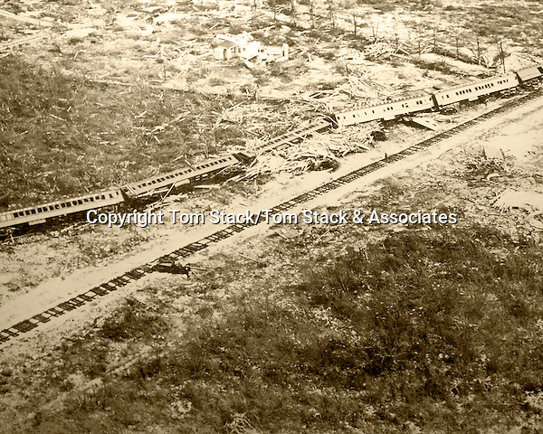 Overseas Railroad train swept off the tracks in Islamorada, Florida Keys during the 1935 Labor Day Hurricane