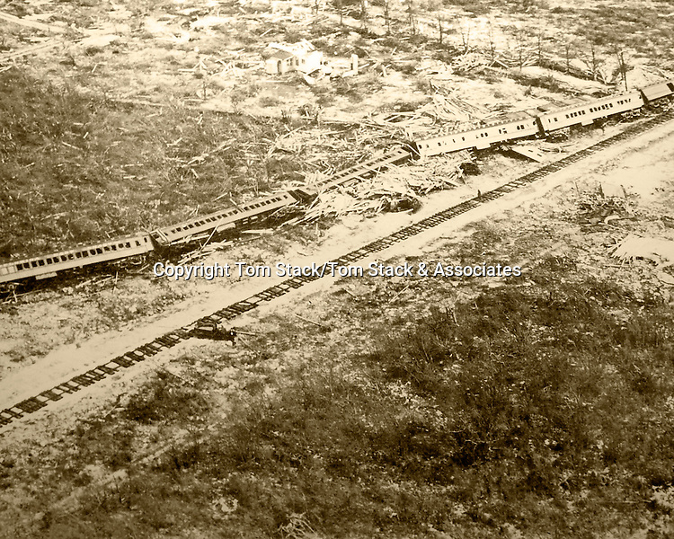 Overseas Railroad train swept off the tracks in Islamorada, Florida Keys during the 1935 Labor Day Hurricane