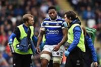Levi Douglas of Bath Rugby leaves the field after suffering an injury. Gallagher Premiership match, between Leicester Tigers and Bath Rugby on May 18, 2019 at Welford Road in Leicester, England. Photo by: Patrick Khachfe / Onside Images