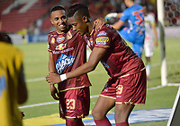 IBAGUÉ - COLOMBIA, 04-09-2018: Omar Albornoz (Der) jugador del Deportes Tolima celebra después de anotar el segundo gol de su equipo a Atletico Huila durante partido por la fecha 8 de la Liga Águila II 2018 jugado en el estadio Manuel Murillo Toro de Ibagué. / Omar Albornoz (R) player of Deportes Tolima celebrates after scoring the second goal of his team to Atletico Huila during match for date 8 of the Aguila League II 2018 played at Manuel Murillo Toro stadium in Ibague city. Photo: VizzorImage / Juan Carlos Escobar / Cont