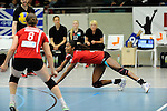 Rüsselsheim, Germany, April 13: Cristina Alves Oliveira Ferreira #1 of the Rote Raben Vilsbiburg digs for the ball during play off Game 1 in the best of three series in the semifinal of the DVL (Deutsche Volleyball-Bundesliga Damen) season 2013/2014 between the VC Wiesbaden and the Rote Raben Vilsbiburg on April 13, 2014 at Grosssporthalle in Rüsselsheim, Germany. Final score 0:3 (Photo by Dirk Markgraf / www.265-images.com) *** Local caption ***