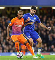 Diego Costa of Chelsea and Fernandinho of Manchester City during the Premier League match between Chelsea and Manchester City at Stamford Bridge on April 5th 2017 in London, England.<br /> Foto PHC Images / Panoramic / Insidefoto <br /> ITALY ONLY