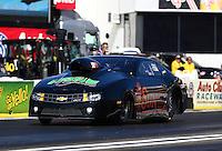 Feb 6, 2015; Pomona, CA, USA; NHRA pro stock driver Jeff Isbell during qualifying for the Winternationals at Auto Club Raceway at Pomona. Mandatory Credit: Mark J. Rebilas-