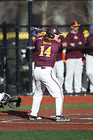 Joe DeMaio (14) of the Iona Gaels at bat against the Rutgers Scarlet Knights at City Park on March 8, 2017 in New Rochelle, New York.  The Scarlet Knights defeated the Gaels 12-3.  (Brian Westerholt/Four Seam Images)