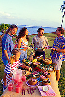 Hawaiian style picnic at the beach. Magic Island, Ala Moana beach Park, Oahu
