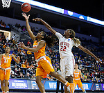 SIOUX FALLS MARCH 25:  Te'a Cooper #20 of Tennessee gets past Alexa Hart #22 of Ohio State during their 2016 NCAA Women's Basketball Sioux Falls Regional Semifinal Friday night at the Denny Sanford Premier Center in Sioux Falls, S.D. (Photo by Dick Carlson/Inertia)