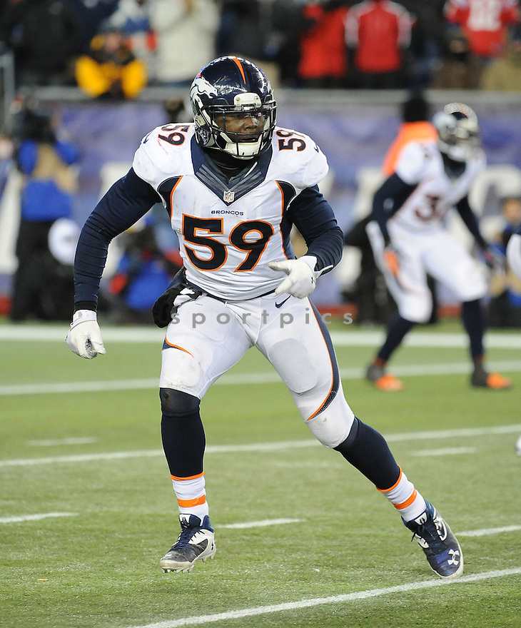 Denver Broncos Danny Trevathan (59) during a game against the New England Patriots on November 24, 2013 at Gillette Stadium in Foxboro, MA. The Patriots beat the Broncos 31-34 in OT.