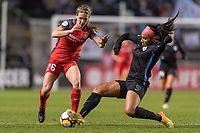 Bridgeview, IL - Saturday March 31, 2018: Mallory Weber, Samantha Johnson during a regular season National Women's Soccer League (NWSL) match between the Chicago Red Stars and the Portland Thorns FC at Toyota Park.
