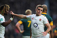 George Ford of England celebrates a try with team-mate Marland Yarde. Old Mutual Wealth Series International match between England and South Africa on November 12, 2016 at Twickenham Stadium in London, England. Photo by: Patrick Khachfe / Onside Images