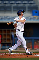 Charlotte Stone Crabs Tanner Dodson (10) bats during a Florida State League game against the Palm Beach Cardinals on April 14, 2019 at Charlotte Sports Park in Port Charlotte, Florida.  Palm Beach defeated Charlotte 5-3.  (Mike Janes/Four Seam Images)