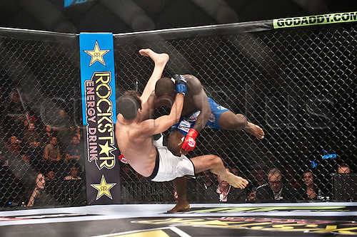 24.06.2011, Washinton, USA.   Jason High takes down Quinn Mulhern during the STRIKEFORCE Challengers at the ShoWare Center in Kent, Washington. High won the fight in a unanimous decision.