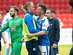 St Johnstone v Ross County…12.05.18…  McDiarmid Park    SPFL<br />Steven Anderson hugs Chris Millar after he played his last game<br />Picture by Graeme Hart. <br />Copyright Perthshire Picture Agency<br />Tel: 01738 623350  Mobile: 07990 594431