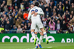 Isco Alarcon and Alvaro Morata of Real Madrid celebrates after scoring a goal during the match of Spanish La Liga between Real Madrid and UD Las Palmas at  Santiago Bernabeu Stadium in Madrid, Spain. March 01, 2017. (ALTERPHOTOS / Rodrigo Jimenez)