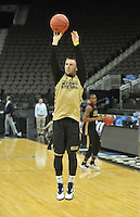 NWA Democrat-Gazette/Michael Woods --03/15/2015--w@NWAMICHAELW... Wofford guard Eric Garcia shoots around during practice Wednesday evening at Jacksonville Veterans Memorial Arena in Jacksonville, Florida.