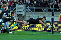 Rieko Ioane scores during the Rugby Championship match between the New Zealand All Blacks and South Africa Springboks at Westpac Stadium in Wellington, New Zealand on Saturday, 15 September 2018. Photo: Dave Lintott / lintottphoto.co.nz