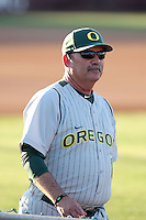 George Horton #8, head coach of the Oregon Ducks, walks on the field prior to the opening of three-game series against the Arizona State Sun Devils on April 1, 2011 at Packard Stadium, Arizona State University, in Tempe, Arizona. ..Photo by:  Bill Mitchell/Four Seam Images.