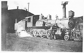 Colorado Midland #22 at Cardiff roundhouse with one of the crew posing.<br /> Colorado Midland  Cardiff, CO  1900-1905
