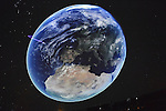 "Oct 4, 2012 - GARDEN CITY, NEW YORK U.S. - At the new JetBlue Sky Theater Planetarium at Cradle of Aviation Museum, Nassau County students watched ""We Are Astronomers"" a digital planetarium show, which included a colorful view of Earth from space. The planetarium, a state-of-the-art digital projection system, officially opens this weekend."