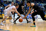 January 24, 2017:  Air Force guard, Zach Kocur #5, and Aztec forward, Max Hoetzel #10, reach for a loose ball during the NCAA basketball game between the San Diego State Aztecs and the Air Force Academy Falcons, Clune Arena, U.S. Air Force Academy, Colorado Springs, Colorado.  Air Force defeats San Diego State 60-57.