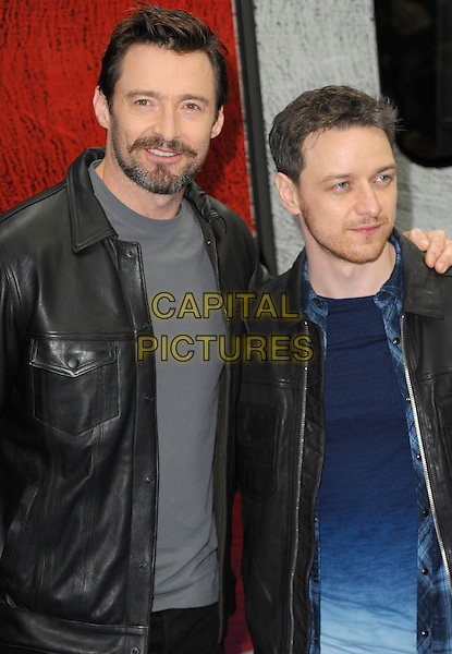 LONDON, ENGLAND - MARCH 31: Hugh Jackman &amp; James McAvoy at a photocall to unveil the Virgin Trains wrapped 'X-Men: Days of Future Past' train at Euston Station on March 31, 2014 in London, England.<br /> CAP/CJ<br /> &copy;Chris Joseph/Capital Pictures