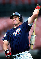 Tim Salmon of the Anaheim Angels during a game at Anaheim Stadium in Anaheim, California during the 1997 season.(Larry Goren/Four Seam Images)