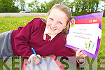 Niamh O'Sullivan Farranfore who won the INTO-EBS Handwriting competition..with her cert on Monday    Copyright Kerry's Eye 2008