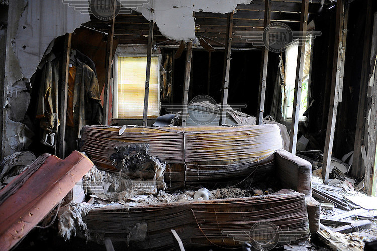 The interior of a ruined house in the Lower 9th Ward, three years on from Hurricane Katrina.
