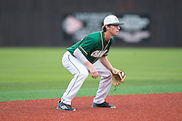 Charlotte 49ers shortstop Hunter Jones (33) on defense against the Wake Forest Demon Deacons at Hayes Stadium on March 16, 2016 in Charlotte, North Carolina.  The 49ers defeated the Demon Deacons 7-6.  (Brian Westerholt/Four Seam Images)
