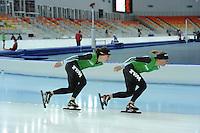 SPEEDSKATING: SOCHI: Adler Arena, 19-03-2013, Training, Linda de Vries (NED), Ireen Wüst (NED), © Martin de Jong