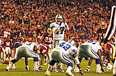 Dallas Cowboys quarterback Quincy Carter (17) calls a time-out in fourth quarter action against the Washington Redskins at FedEx Field in Landover, Maryland on December 2, 2001.  He was not charged for the time-out because the refs said the clock was not set properly.  The Cowboys won the game 20 - 14.<br /> Credit: Ron Sachs / CNP