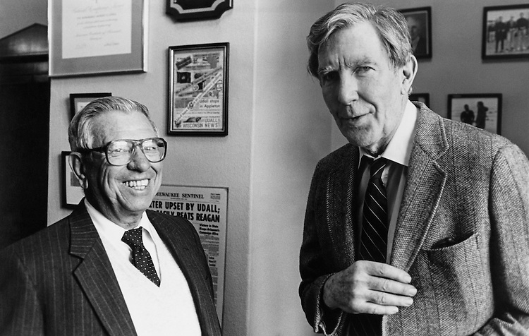 """Rep. Morris King """"Mo"""" Udall, D-Ariz., House Interior and Insular Affairs Committee Chairman, House of Representatives Member and Rep. Manuel Lujan, R-N.M., House of Representatives Member. 1988 (Photo by/CQ Roll Call)"""