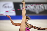 September 21, 2007; Patras, Greece;  Almudena Cid of Spain handles rope while balancing (artistic impression image) during the All-Around final at 2007 World Championships Patras.  Almudena placed 11th in the AA to qualify Spain for one position in the individual All-Around competition at Beijing 2008 Olympics Games and the possibility of making her 4th Olympic Games.  Photo by Tom Theobald. .