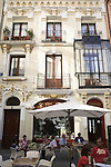 A cafe terrace in the historic centre of Avila, Castile and Leon, Spain