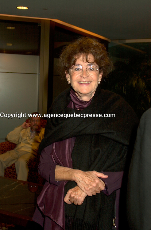 Aug 22 2002, Montreal, Quebec, Canada<br /> <br /> NINA COMPANEEZ, Jury member of the 26th World Film Festival,  held Aug 22 to Sept 2 2002  in  Montreal, Quebec, Canada, at the Opening night, <br /> <br /> French screenwriter and director Nina Companeez first came to international attention authoring the scripts of Michel Deville's early films &ne; ADORABLE LIAR (1961), BECAUSE, BECAUSE OF A WOMAN (1963), GIRL'S APARTMENT (1963), LUCKY JO (1964), THE THEFT OF THE MONA LISA (1996), BENJAMIN (1968), BYE BYE, BARBARA (1968), THE BEAR AND THE DOLL (1969), RAPHAEL OR THE DEBAUCHED ONE (1971). She made her own directorial debut in 1972 with FAUSTINE AND THE BEAUTIFUL SUMMER (1972), and went on to direct some of the most popular series in French television, including, most recently, L&pi;ALL&hellip;E DU ROI (1995) and LA POURSUITE DU VENT (1998). <br /> <br /> <br /> Mandatory Credit: Photo by Pierre Roussel- Images Distribution. (&copy;) Copyright 2002 by Pierre Roussel <br /> <br /> NOTE : <br />  Nikon D-1 jpeg opened with Qimage icc profile, saved in Adobe 1998 RGB<br /> .Uncompressed  Uncropped  Original  size  file availble on request.