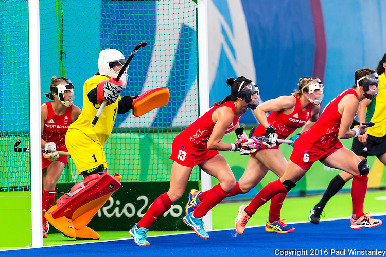 Sam Quek #13 of Great BritainHannah Macleod #6 of Great Britain fast off the line to defend the short corner during  and \Netherlands vs Great Britain in the gold medal final at the Rio 2016 Olympics at the Olympic Hockey Centre in Rio de Janeiro, Brazil.