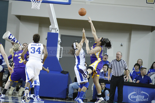 Sarah Barnette goes up to block a shot in the game against Tennessee Tech at Memorial Coliseum on December 7, 2010. Photo by Ryan Buckler | Staff