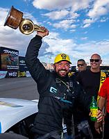 Oct 30, 2016; Las Vegas, NV, USA; NHRA pro stock driver Shane Gray celebrates after winning the Toyota Nationals at The Strip at Las Vegas Motor Speedway. Mandatory Credit: Mark J. Rebilas-USA TODAY Sports