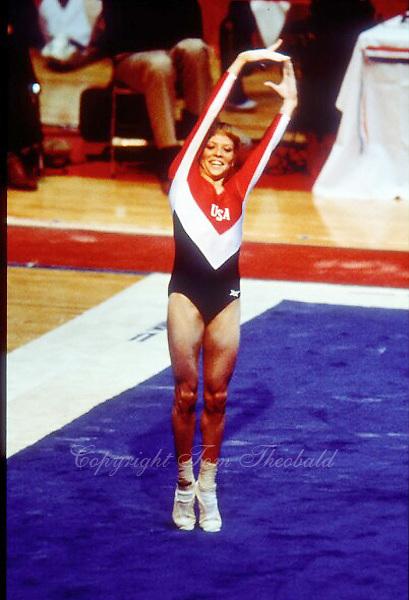 May 15, 1983; Los Angeles, California, USA; Artistic gymnast Julianne McNamara of USA performs on floor exercise at USA vs USSR dual meet at Los Angeles.  Copyright 1983 Tom Theobald.