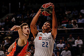25th March 2018, Madrid, Spain; Endesa Basketball League, Real Madrid versus Valencia; Tibor Pleiss (Valencia Basket) catches the pass despite the defence from Walter Tavares (Real Madrid Baloncesto)