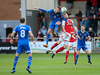 Fleetwood Town's Chris Neal competing in the air <br /> <br /> Photographer Andrew Kearns/CameraSport<br /> <br /> The Carabao Cup First Round - Fleetwood Town v Carlisle United Kingdom - Tuesday 8th August 2017 - Highbury Stadium - Fleetwood<br />  <br /> World Copyright &copy; 2017 CameraSport. All rights reserved. 43 Linden Ave. Countesthorpe. Leicester. England. LE8 5PG - Tel: +44 (0) 116 277 4147 - admin@camerasport.com - www.camerasport.com