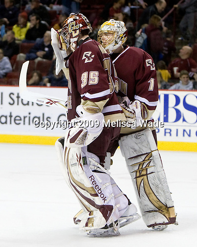 Parker Milner (BC - 35), John Muse (BC - 1) - The Boston College Eagles defeated the University of Massachusetts-Amherst Minutement 3-1 on Friday, December 4, 2009, at the Mullins Center in Amherst, Massachusetts.