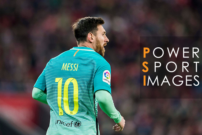 Lionel Andres Messi of FC Barcelona reacts during their Copa del Rey Round of 16 first leg match between Athletic Club and FC Barcelona at San Mames Stadium on 05 January 2017 in Bilbao, Spain. Photo by Victor Fraile / Power Sport Images