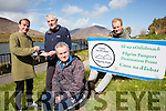 The Pilgrim Paths of Ireland launched their Path's Passport on Saturday with the first stamps issued to 47 walkers who climbed to the top of Cnoc na dTodar picture here l-r: David Mills, John O'Dwyer(Chairman Pilgrim Paths of Ireland), Colman Quirke & Cormac Dineen.  The passports can be stamped at The Old Barracks, Banks Shop & Quirke's News agents.