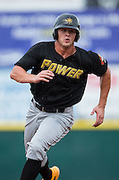 Jerrick Suiter (25) of the West Virginia Power hustles towards third base against the Hickory Crawdads at L.P. Frans Stadium on August 15, 2015 in Hickory, North Carolina.  The Power defeated the Crawdads 9-0.  (Brian Westerholt/Four Seam Images)