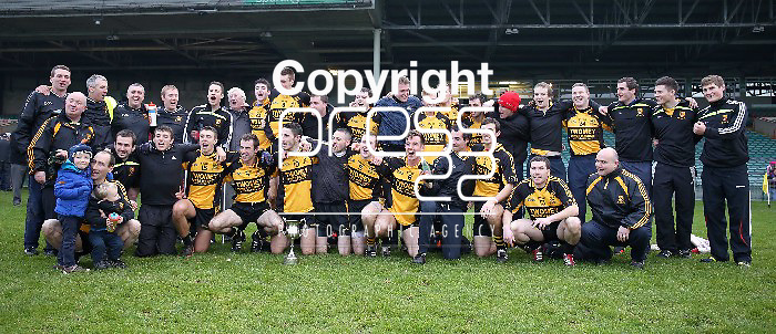 23/11/13 Clyda Rovers celebrate with the Cup after beating St Joseph's, Milltown Malbay in the Munster Intermediate Final on Saturday. Pic Tony Grehan / Press 22