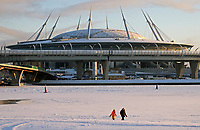 December 4th 2016. ST PETERSBURG, RUSSIA: A view of the Krestovsky Stadium (Zenit-Arena) under construction, and the central section of a new toll motorway, the Western High-Speed Diameter, linking St Petersburgs Vasilyevsky Island to the northern and southern shores of the Gulf of Finland.