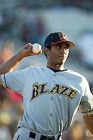 Gabriel Martinez of the Bakersfield Blaze throws before a 2004 season California League game against the Rancho Cucamonga Quakes in Rancho Cucamonga, California. (Larry Goren/Four Seam Images)