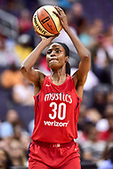 Washington, DC - August 12, 2018: Washington Mystics forward LaToya Sanders (30) pulls up for a shot during game between the Washington Mystics and the Dallas Wings at the Capital One Arena in Washington, DC. (Photo by Phil Peters/Media Images International)