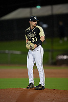 UCF Knights pitcher Jeffrey Hakanson (30) during a game against the Siena Saints on February 14, 2020 at John Euliano Park in Orlando, Florida.  UCF defeated Siena 2-1.  (Mike Janes/Four Seam Images)