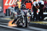 Mar. 30, 2012; Las Vegas, NV, USA: NHRA top Harley rider XXXX during qualifying for the Summitracing.com Nationals at The Strip in Las Vegas. Mandatory Credit: Mark J. Rebilas-